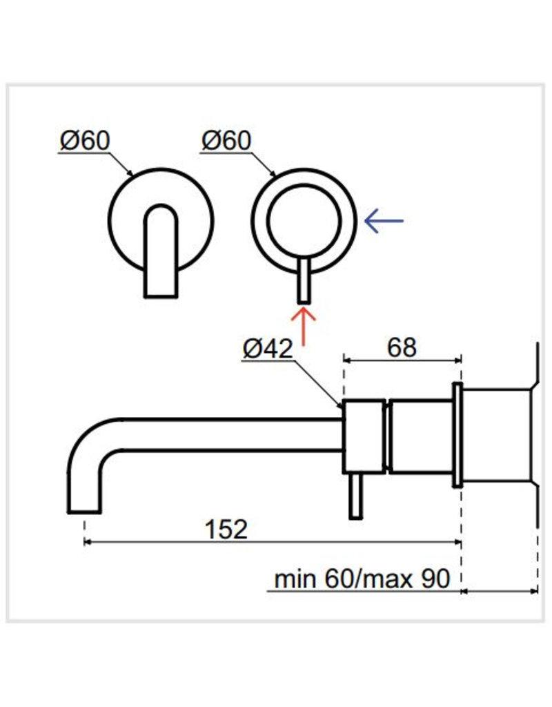 Waterevolution Waterevolution Qisani Flow wastafelkraan inbouw Gun Metal Zwart 15cm
