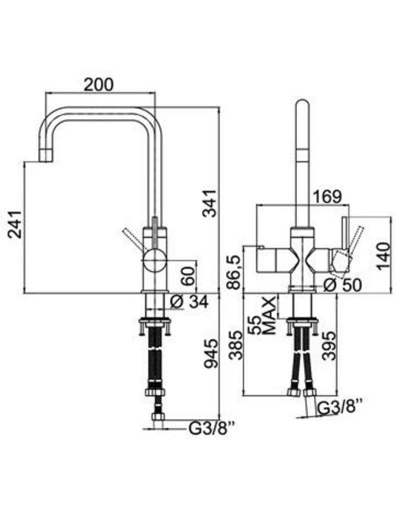 Selsiuz Selsiuz Haaks Chrome met TITANIUM Combi Extra (Combi+) boiler