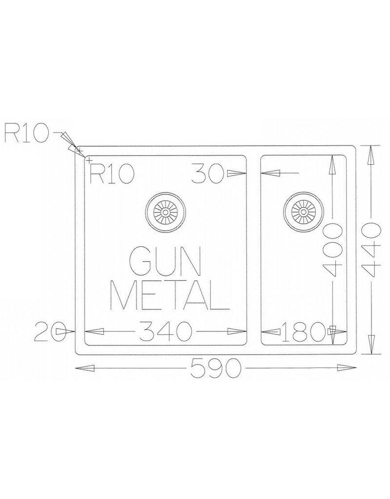 Lanesto Lanesto Urban Gun Metal Zwart 618 34x40 en 18x40 spoelbak