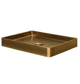 Lanesto Lanesto Qisani Vanity wastafel 52x41x7 Gold / Goud, incl. pop up plug
