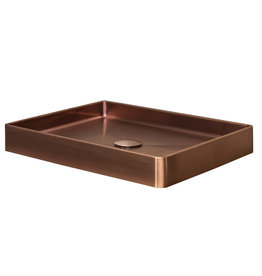 Lanesto Lanesto Qisani Vanity wastafel 52x41x7 Copper / Koper, incl. pop up plug