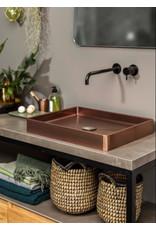 Lanesto Lanesto Qisani Vanity wastafel 52x41x7 Copper / Koper, incl. vaste plug