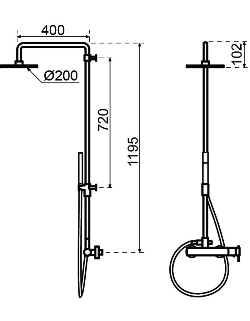 Waterevolution Waterevolution | S22 thermostatisch douchesysteem Chroom
