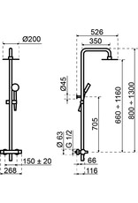 Lanesto Lanesto | H2 thermostatisch douchesysteem Chroom