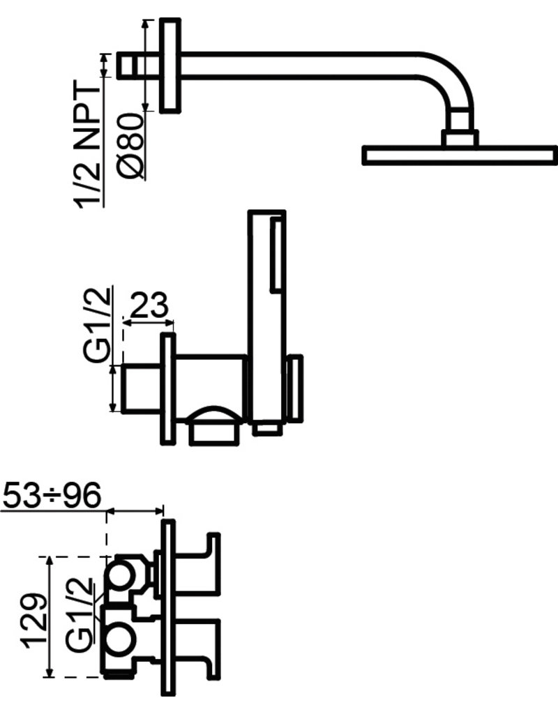 Lanesto Lanesto | H2 thermostatische inbouwset Chroom