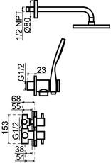 Lanesto Lanesto | Kiruna thermostatische inbouwset Chroom