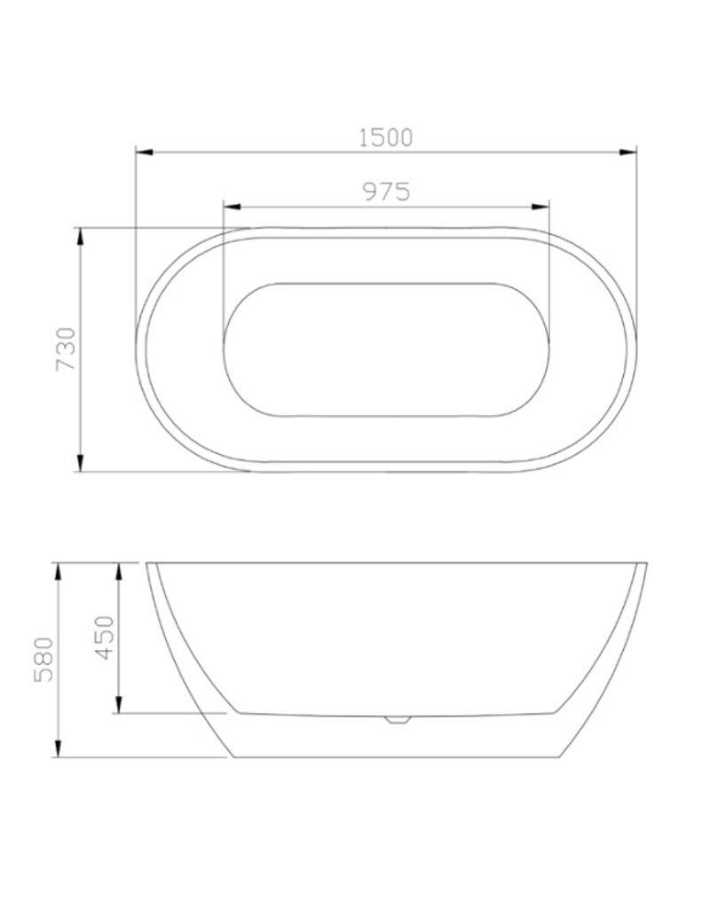 Top Sanitary Design ligbad Lubana 150