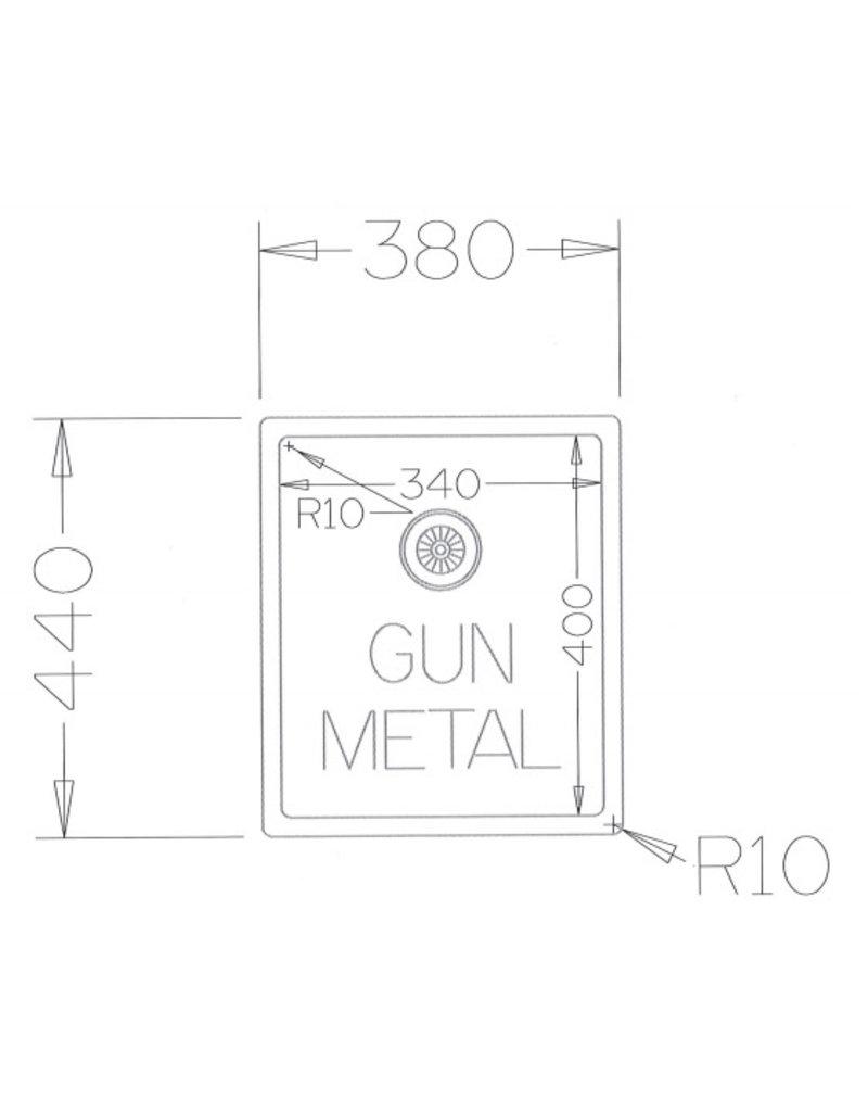 Lanesto Lanesto Urban Gun Metal Zwart 612 34x40 spoelbak
