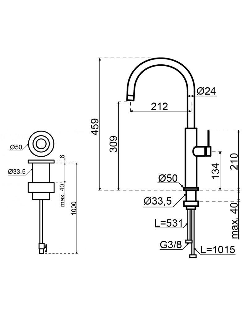 Selsiuz Selsiuz by Gessi 3 in 1 RVS met TITANIUM Combi boiler