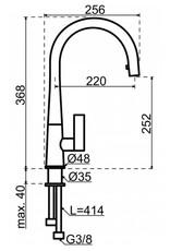 Lanesto Lanesto Conic rond eenhendelkeukenmengkraan RVS-PVD met uittrekbare perlator