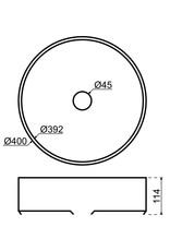 Lanesto Lanesto Qisani Vanity wastafel rond 40x11,5 Gun Metal, incl. vaste plug