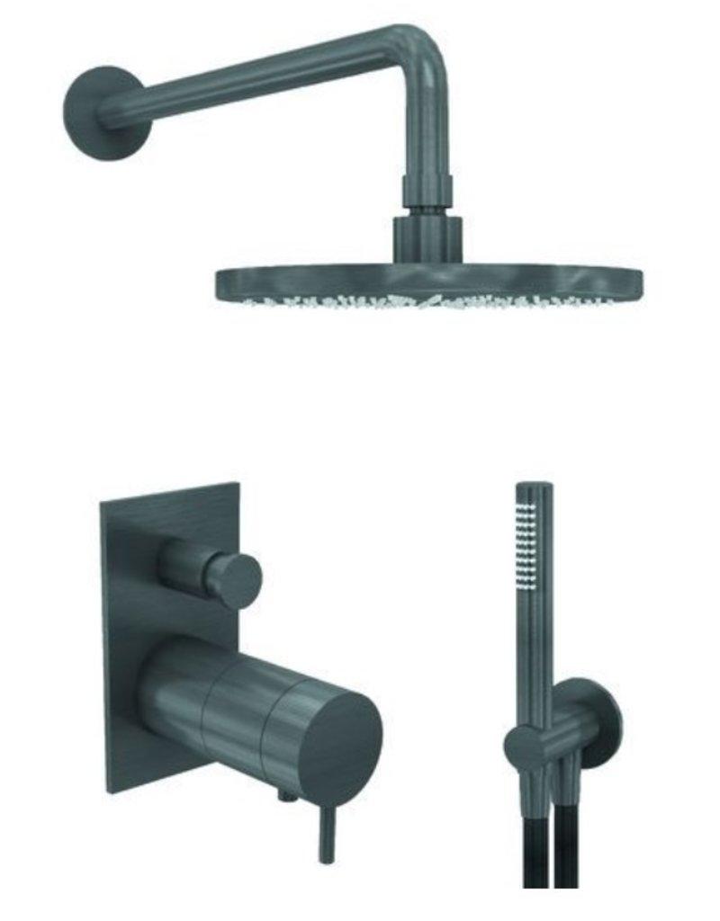 Waterevolution Waterevolution Qisani Flow inbouwset Gun Metal Zwart Vierkant
