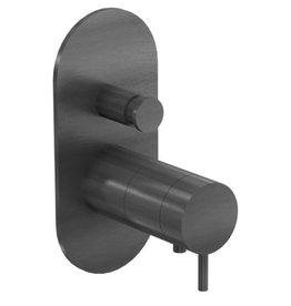 Waterevolution Waterevolution Qisani Flow thermostatische inbouwkraan Ovaal Gun Metal Zwart