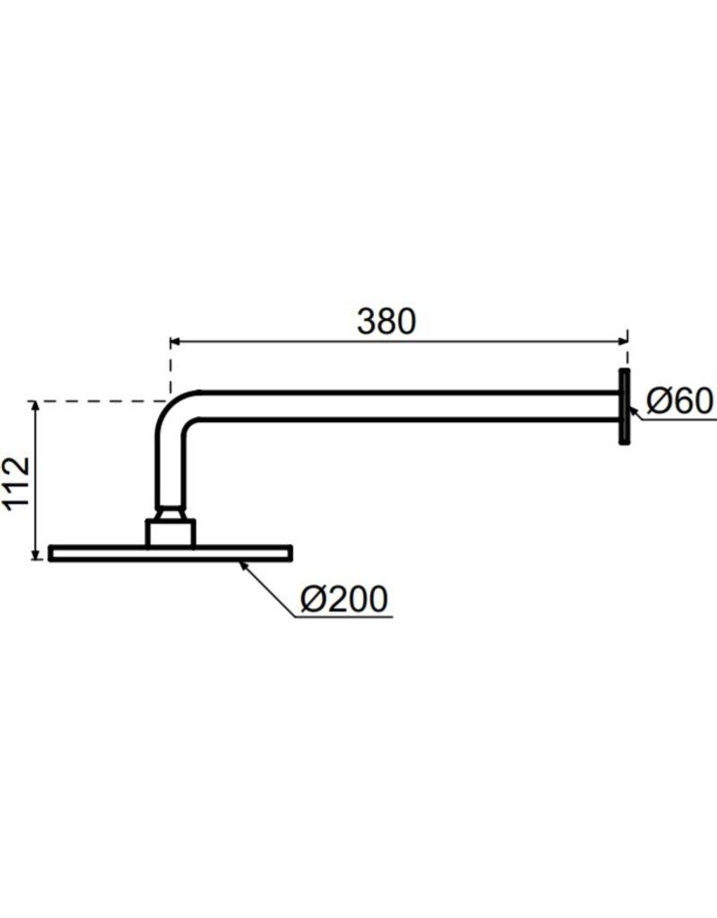 Waterevolution Waterevolution Qisani Flow hoofddouche 20cm met wanddouchearm Gun Metal Zwart