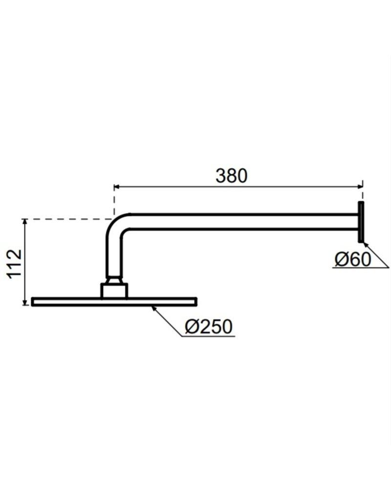 Waterevolution Waterevolution Qisani Flow hoofddouche 25cm met wanddouchearm Gun Metal Zwart