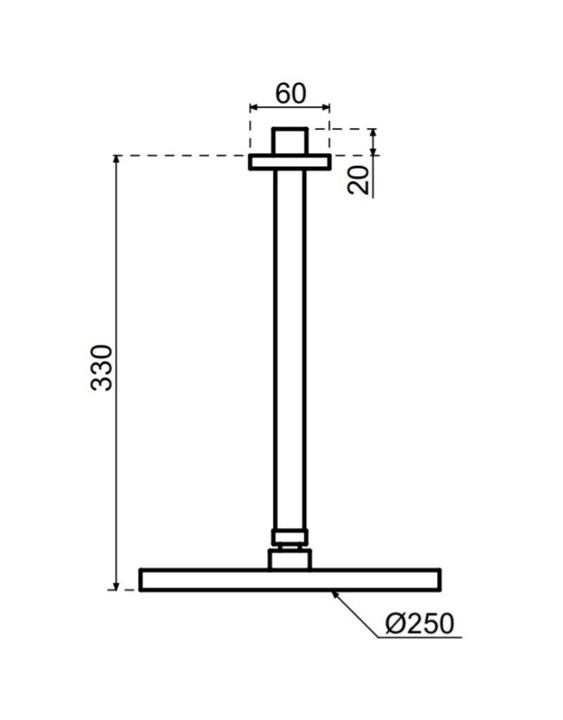 Waterevolution Waterevolution Qisani Flow hoofddouche 25cm met plafonddouchearm Gun Metal Zwart