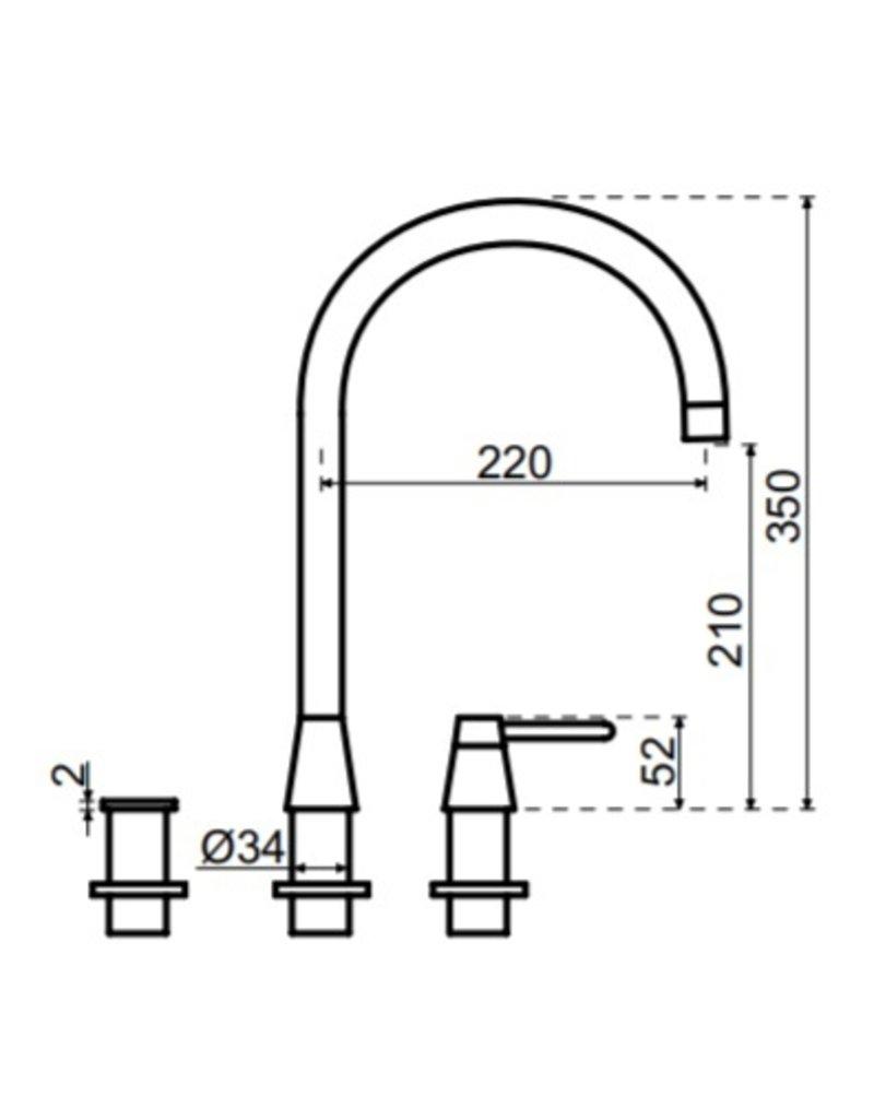 Selsiuz Selsiuz Osiris Cone Counter 3-in-1 Gun Metal Zwart met TITANIUM Single boiler