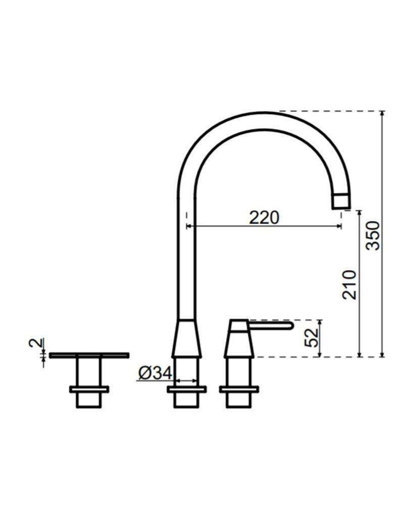 Selsiuz Selsiuz Osiris Cone Counter 5-in-1 Gold / Goud met TITANIUM Combi boiler