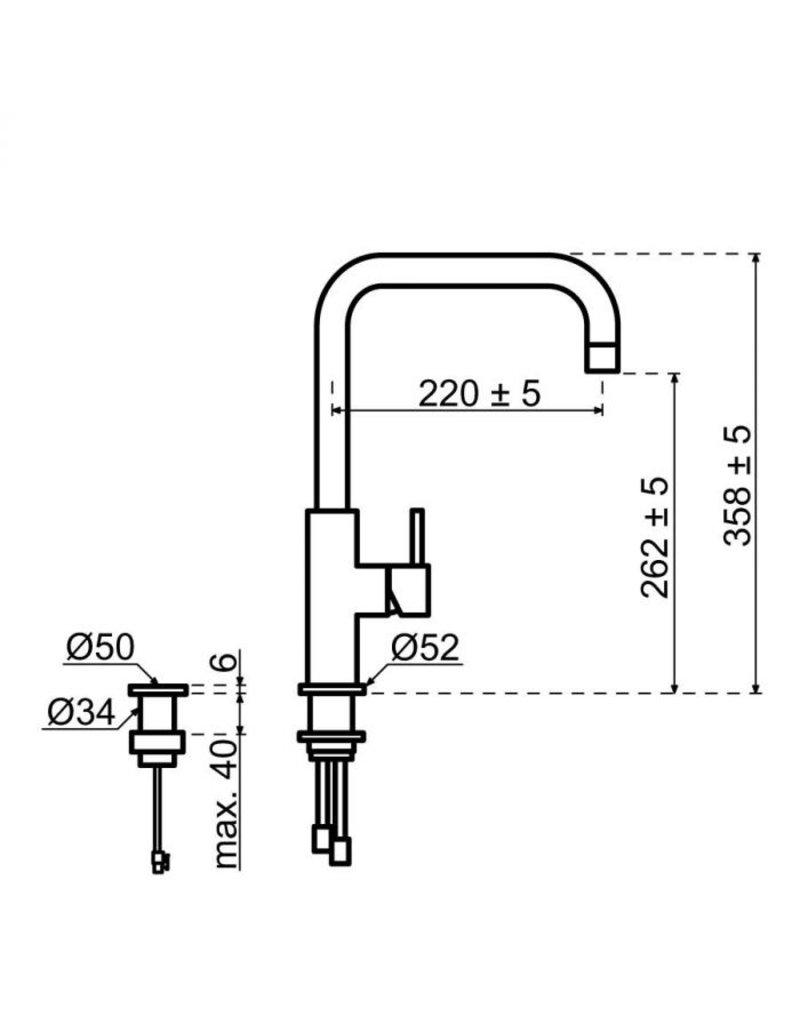 Selsiuz Selsiuz Push Haaks Inox (RVS) met TITANIUM Single boiler