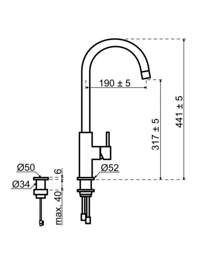 Selsiuz Selsiuz Push Rond Gun Metal Zwart met TITANIUM Combi (Extra) boiler