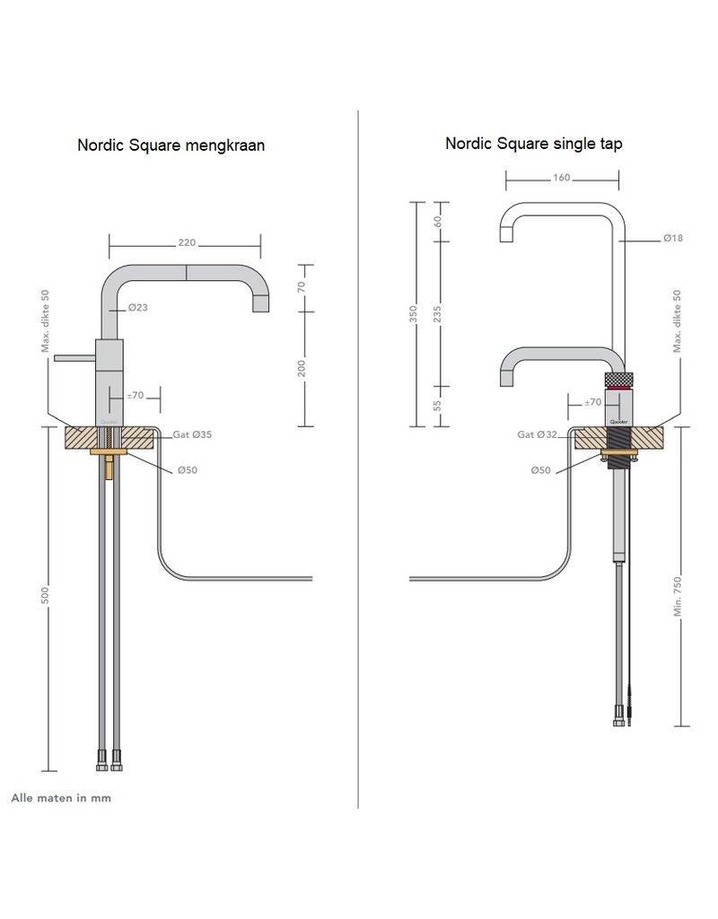 Quooker Quooker Twintaps Nordic Square Chroom met COMBI 2.2 reservoir