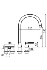 Selsiuz Selsiuz Osiris Cone Counter 5-in-1 RVS met TITANIUM Single boiler en Cooler