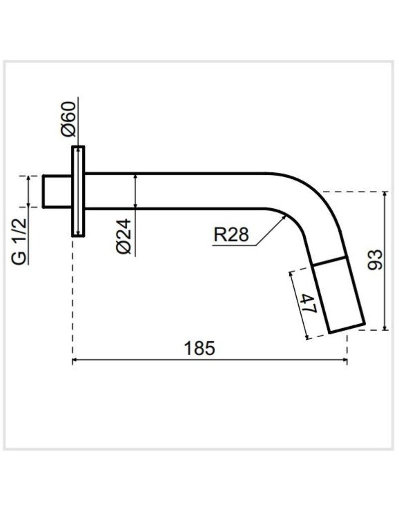 Qisani Qisani Kiruna inbouw fonteinkraan met J-uitloop Chroom