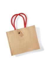 Jute tas (groot) - natuur-rood