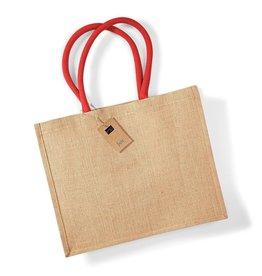 Jute tas (groot) - natuur- rood