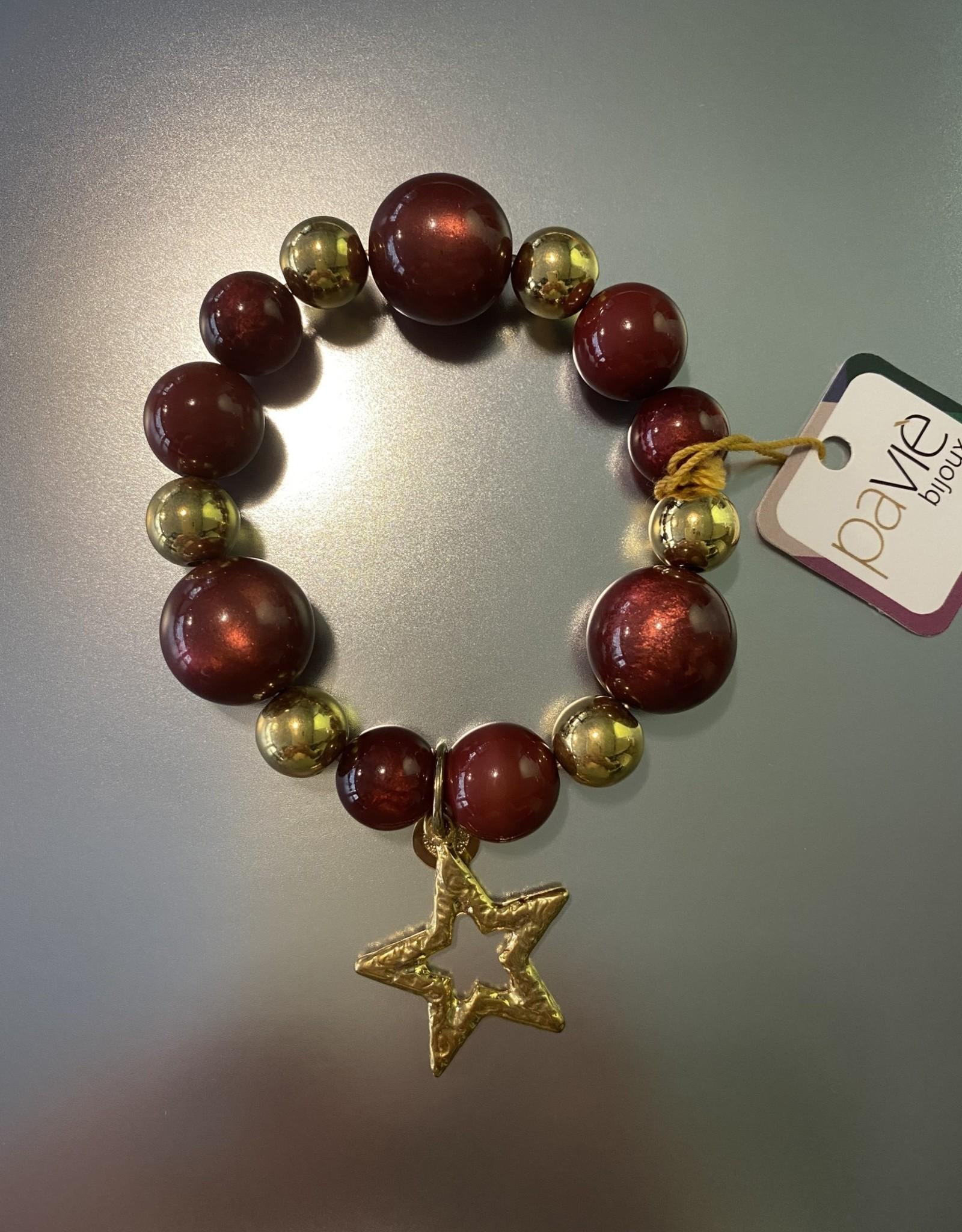 armband bordeaux/goud met ster br. 206 D