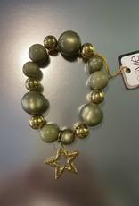 Armband khaki/goud met ster br. 206 D