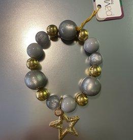 Armband grijs/goud met ster br. 206 D