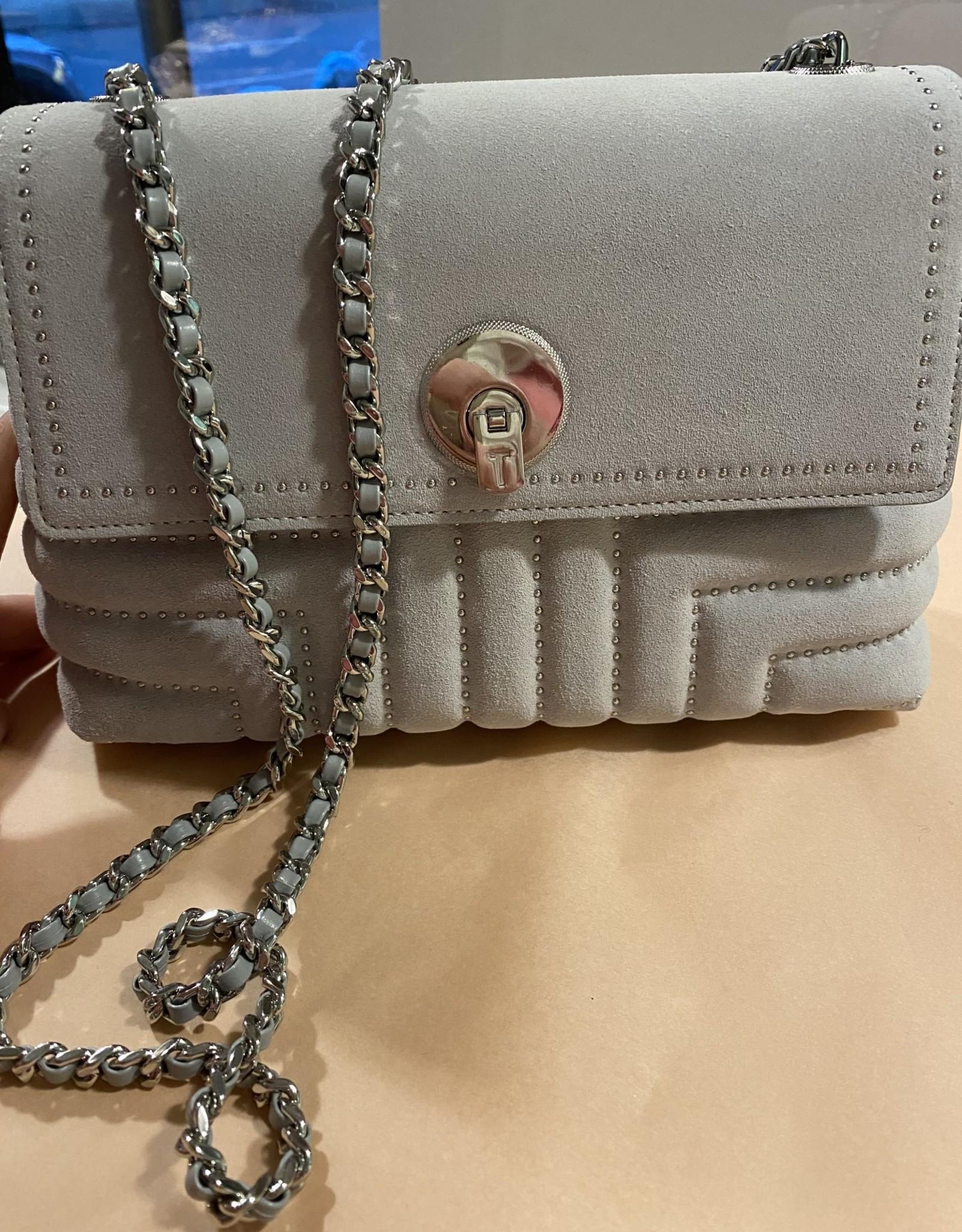 Ted Baker SADDIIE studded circle lock xbody bag - light grey