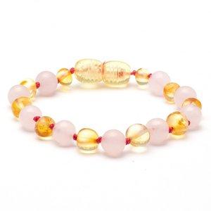 Barnsteen Barnsteen armbandje lemon - rozenkwarts