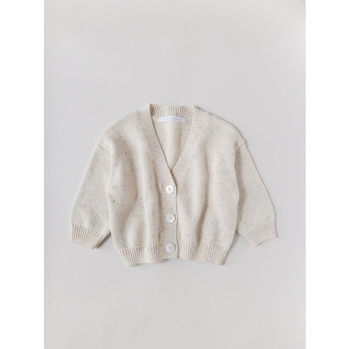 Kids of April Rainbow Speckle Cardigan - Natural