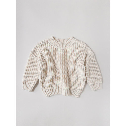 Kids of April Rainbow Speckle Chunky Sweater - Natural