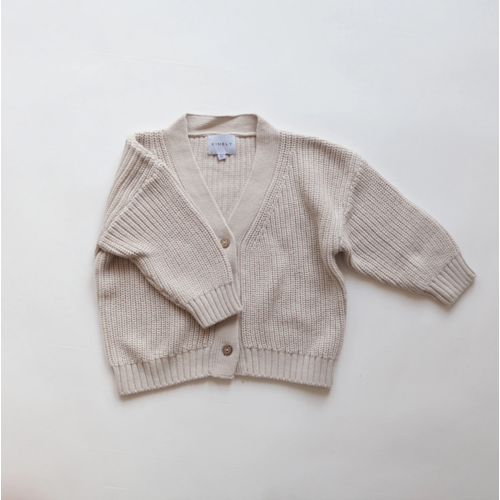 KINDLY Chunky Cotton Cardigan KID - Light Beige