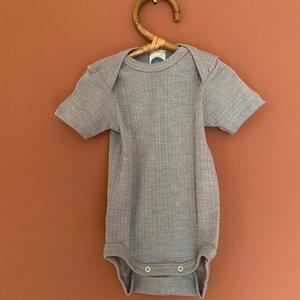 Cosilana Organic romper van katoen wol zijde met korte mouw - Grijs
