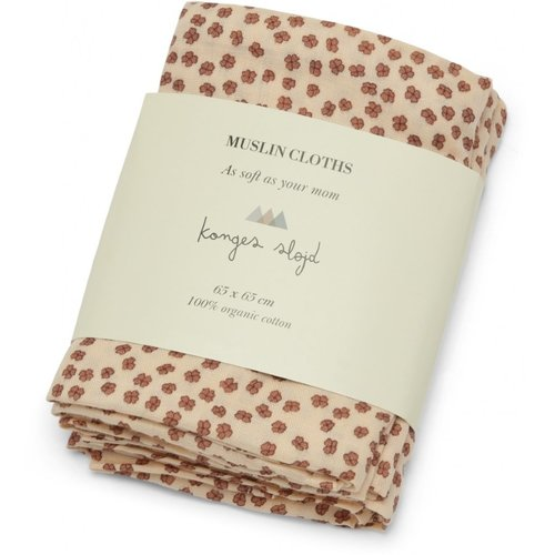 Konges Sløjd 3 pack muslin cloth - Buttercup rosa
