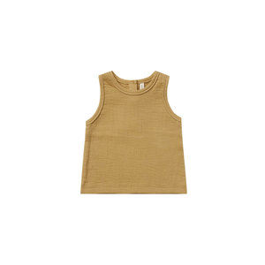 Quincy Mae Woven tank - Gold