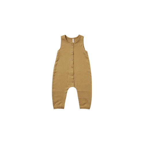 Quincy Mae Woven button jumpsuit - Gold