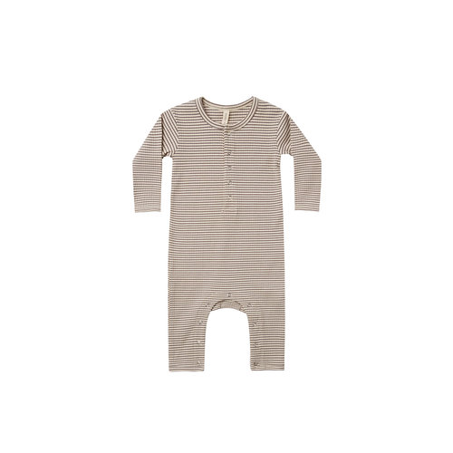 Quincy Mae Ribbed baby jumpsuit - Charcoal stripe