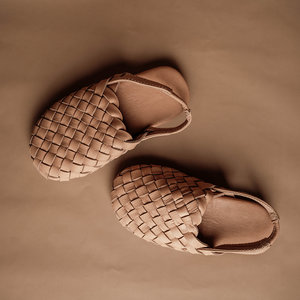 Bali Sandals Woven Leather Mules - Nude KID