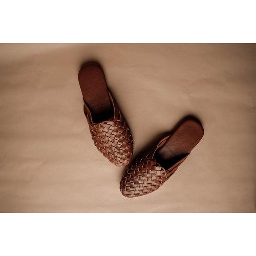 Bali Sandals Woven Leather Mules - Cognac ADULT