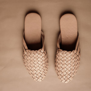 Bali Sandals Woven Leather Mules - Nude ADULT
