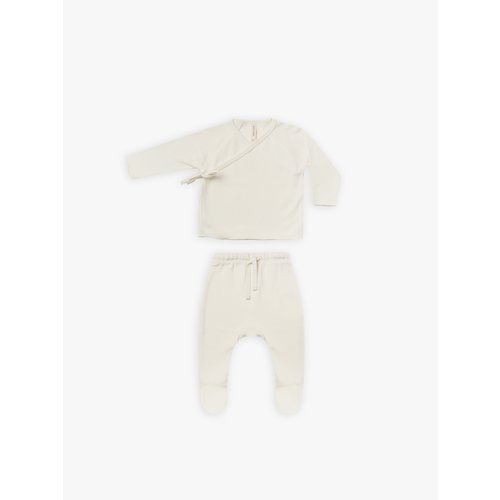 Quincy Mae Quincy Mae- Wrap top and pant set - Ivory