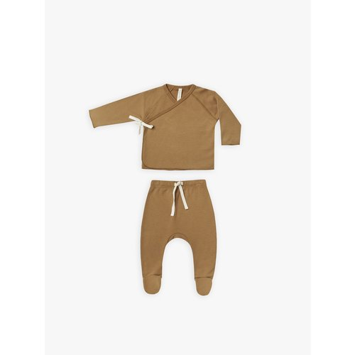 Quincy Mae Quincy Mae- Wrap top and pant set - Walnut