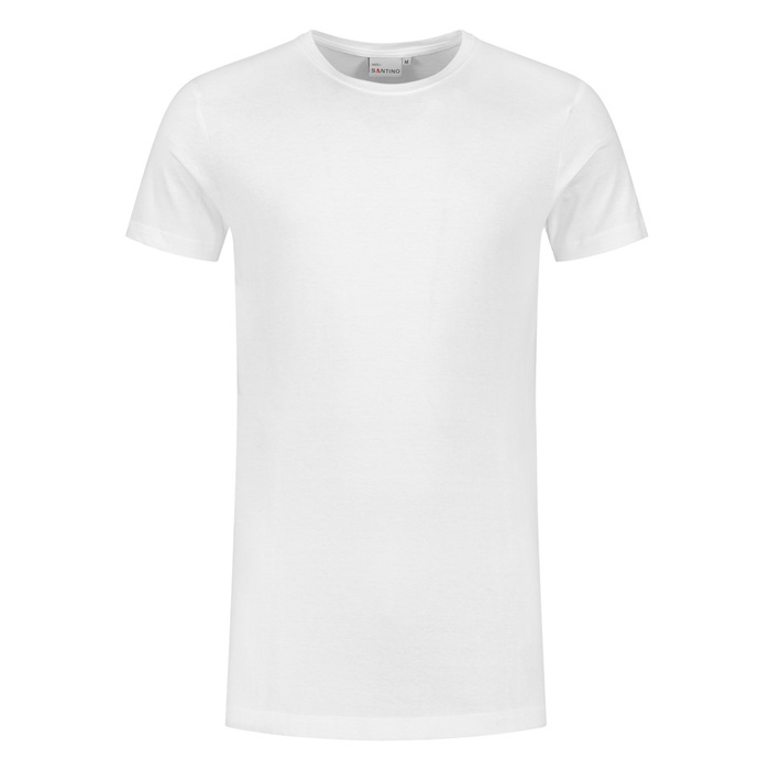 Santino T-shirt slim fit - extra lang, ronde hals Wit