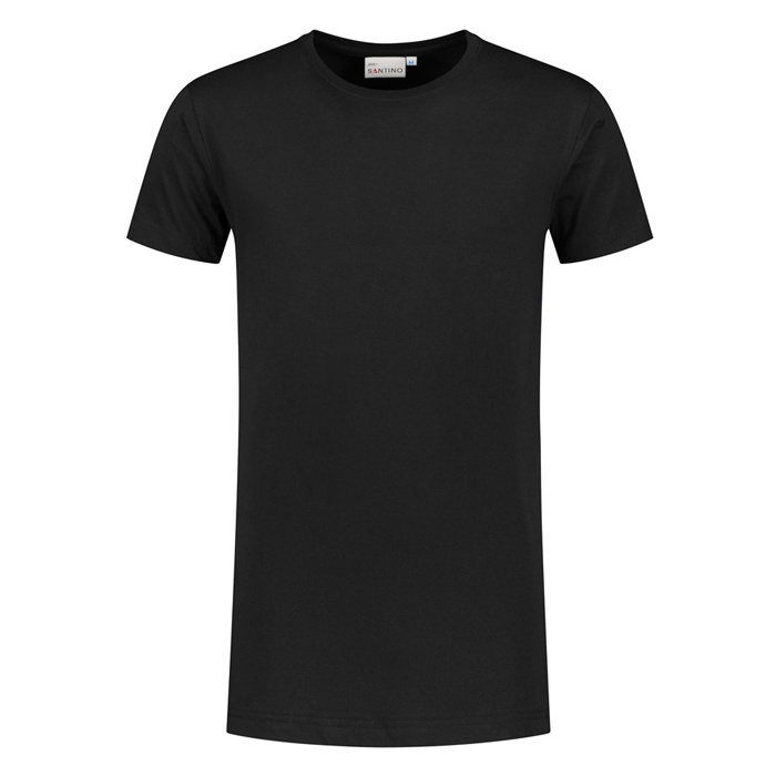 Santino T-shirt slim fit - extra lang, ronde hals Zwart