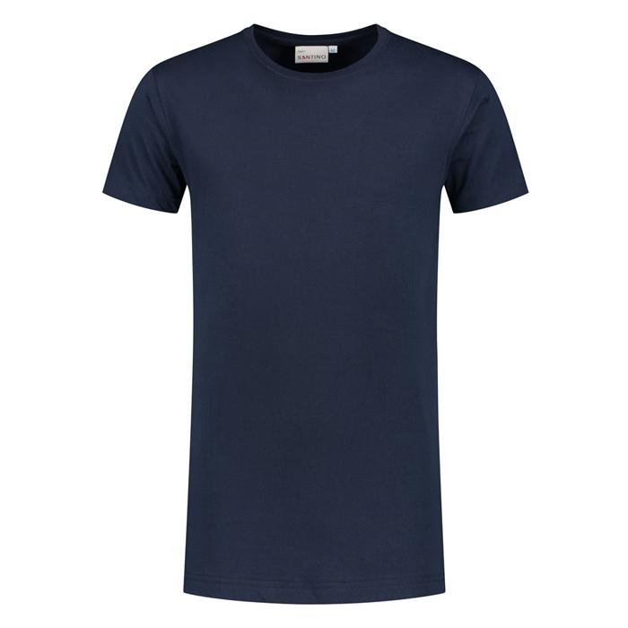 Santino T-shirt slim fit - extra lang, ronde hals Navy